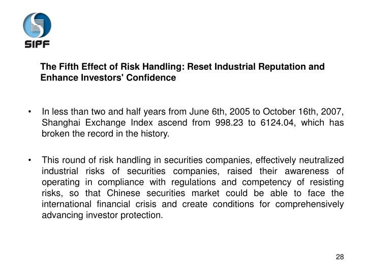 The Fifth Effect of Risk Handling: Reset Industrial Reputation and Enhance Investors' Confidence