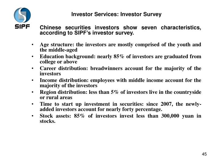 Investor Services: Investor Survey