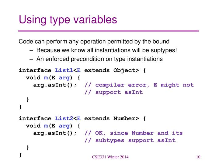 Using type variables