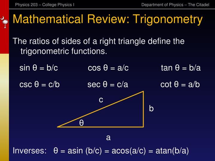 Mathematical Review: Trigonometry
