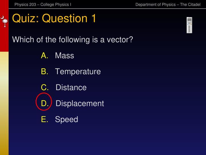 Quiz: Question 1