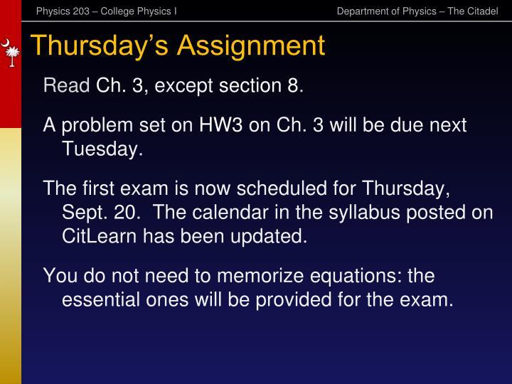 Thursday s assignment