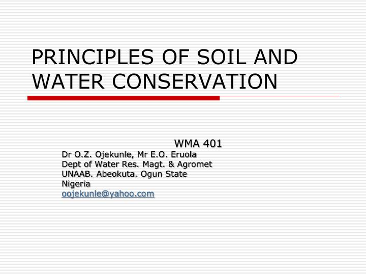 principles of soil and water conservation n.
