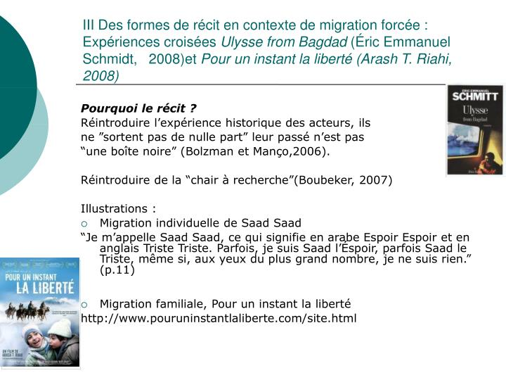 III Des formes de récit en contexte de migration forcée : Expériences croisées