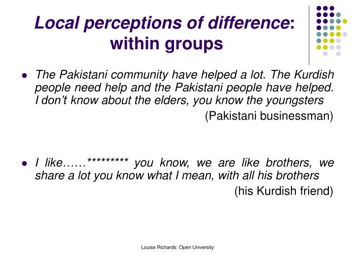 Local perceptions of difference