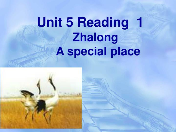 unit 5 reading 1 zhalong a special place n.