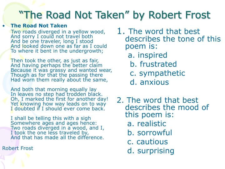 mood of the poem the road not taken