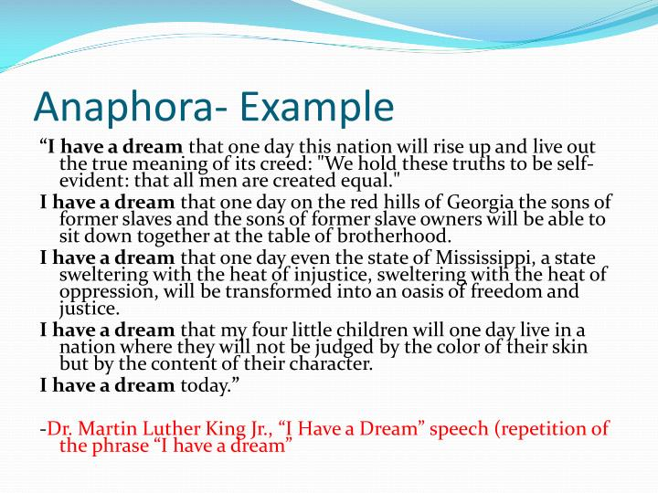 anaphora in i have a dream speech