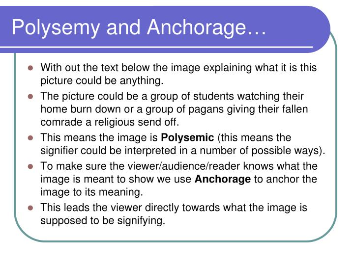 Polysemy and Anchorage…