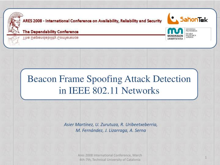 PPT - Beacon Frame Spoofing Attack Detection in IEEE 802 11 Networks