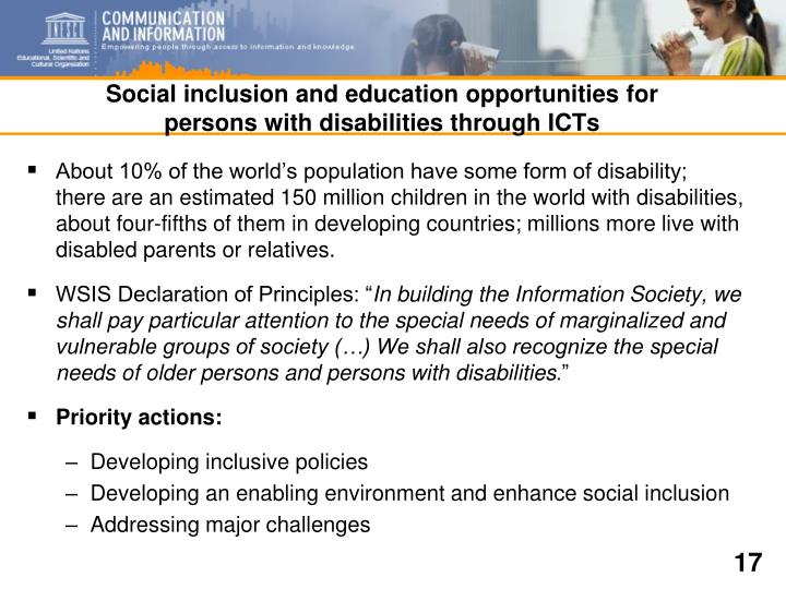 Social inclusion and education opportunities for