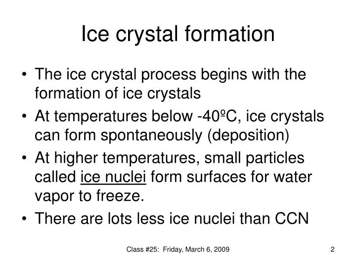 Ice crystal formation