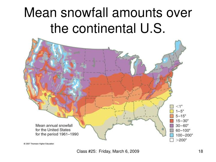 Mean snowfall amounts over the continental U.S.