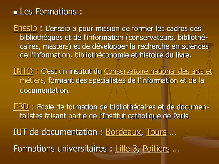 Les Formations :