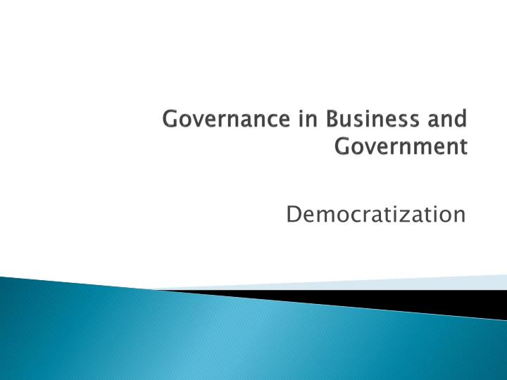 governance in business and government n.