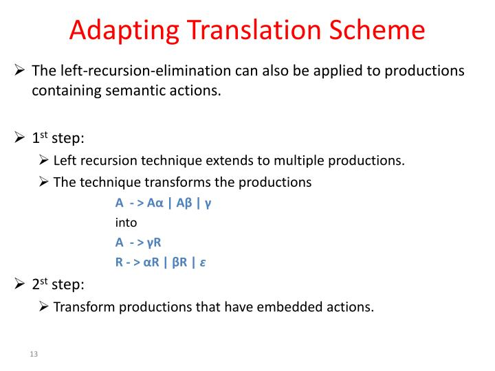 Adapting Translation Scheme
