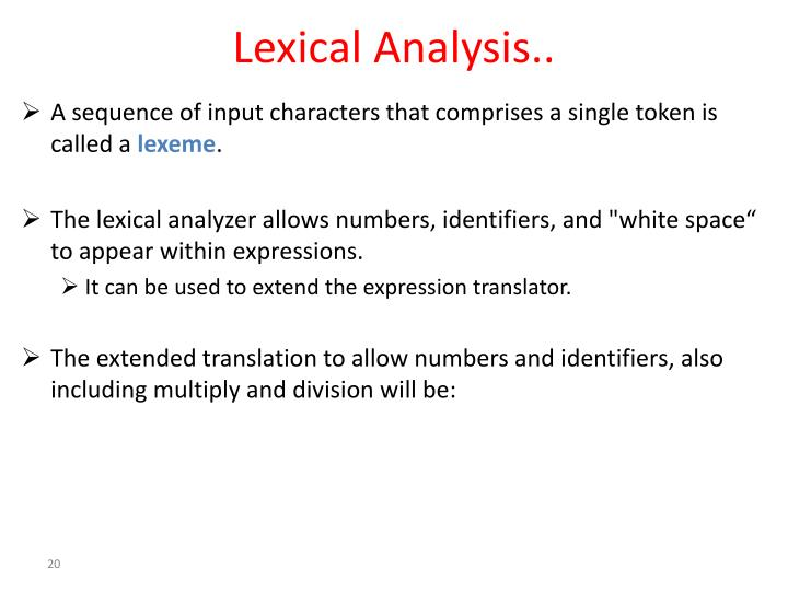 Lexical Analysis..
