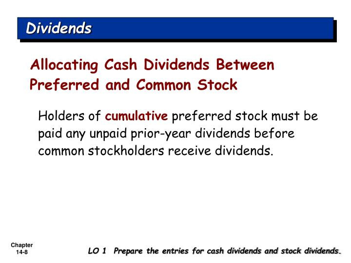 Allocating Cash Dividends Between Preferred and Common Stock