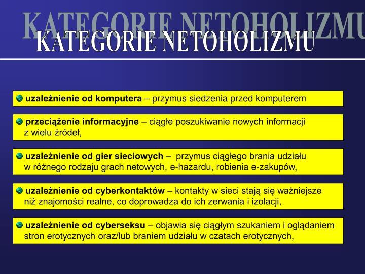 KATEGORIE NETOHOLIZMU