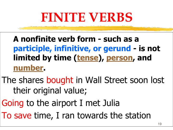verb general and nonfinite forms
