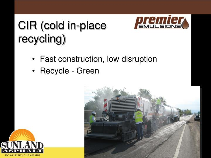 Fast construction, low disruption