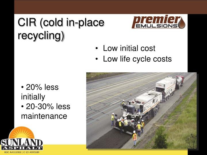 CIR (cold in-place recycling)