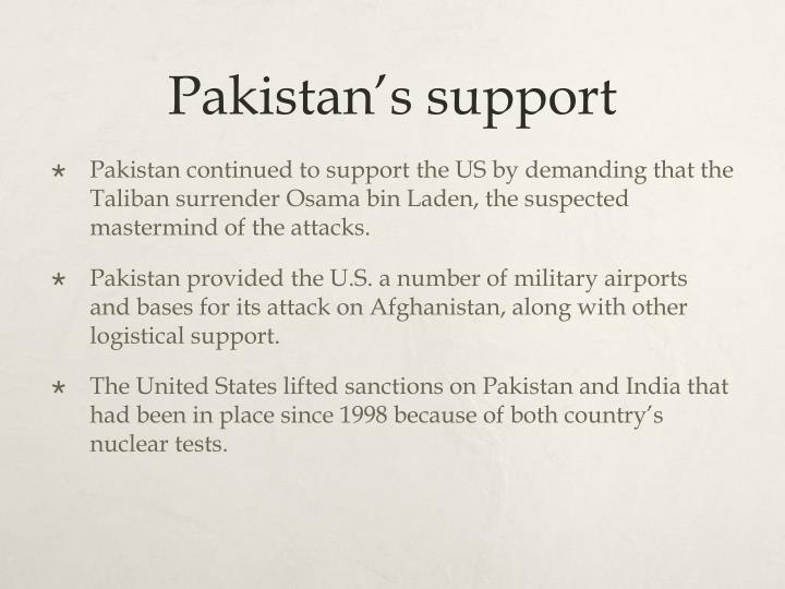 Pakistan's support