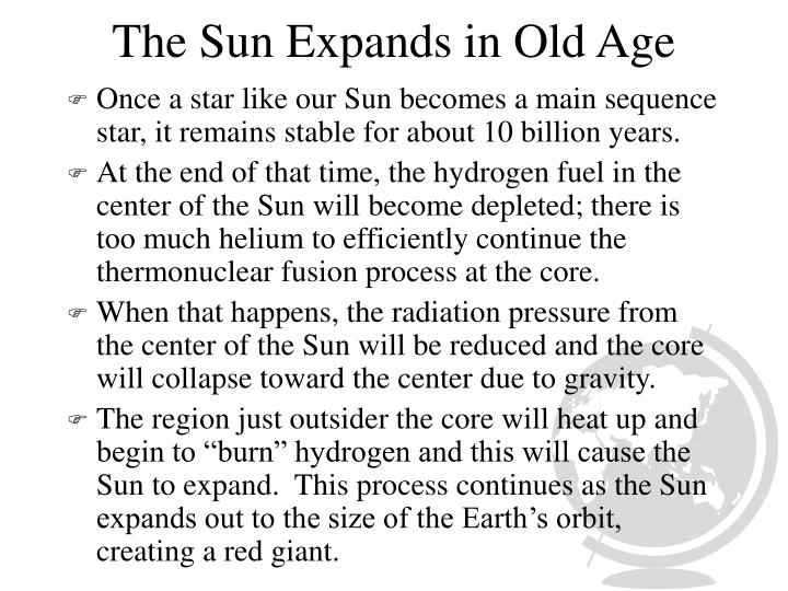 The Sun Expands in Old Age