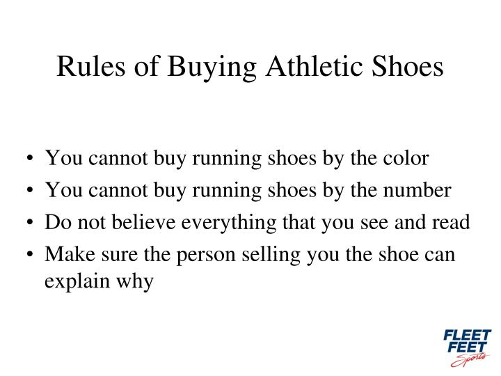 Rules of Buying Athletic Shoes