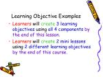 learning objective examples