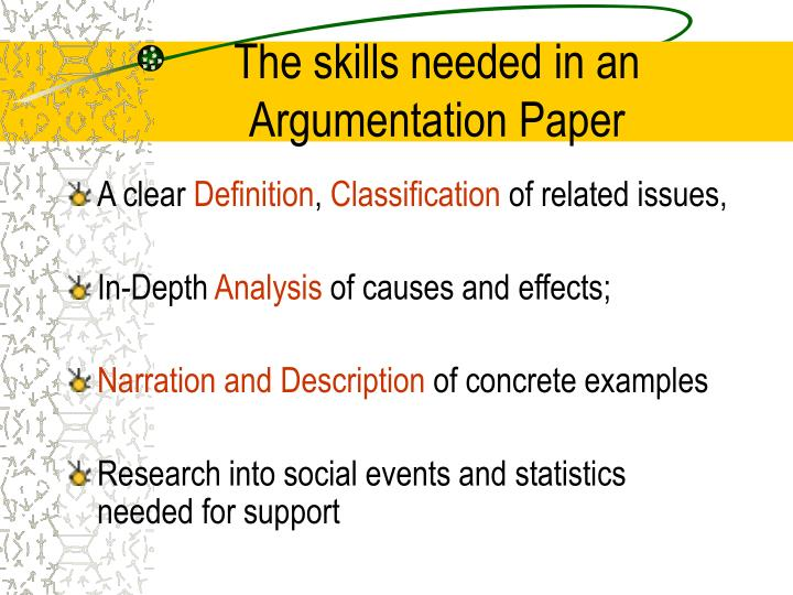 The skills needed in an Argumentation Paper