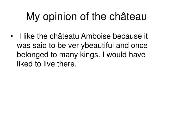 My opinion of the château