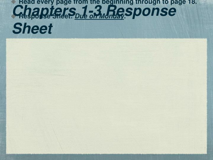 Chapters 1-3 Response Sheet