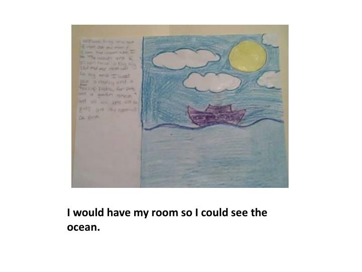 I would have my room so I could see the ocean.