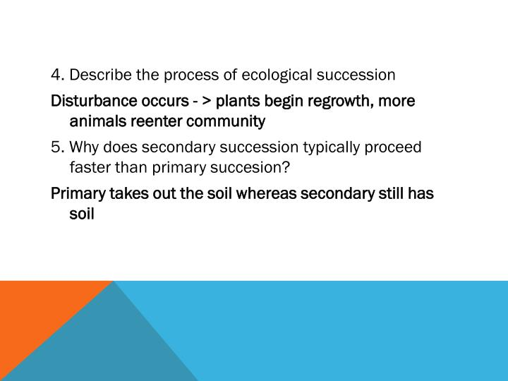 4. Describe the process of ecological succession