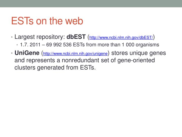 ESTs on the web