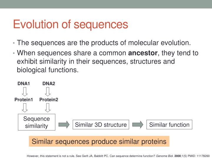 Evolution of sequences