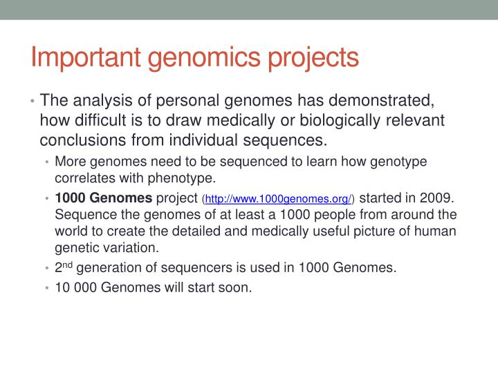 Important genomics projects