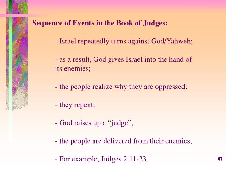 Sequence of Events in the Book of Judges: