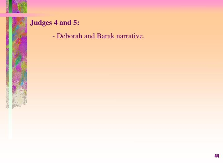 Judges 4 and 5: