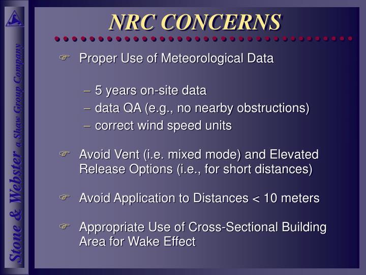 NRC CONCERNS