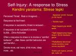 self injury a response to stress kendini yaralama strese tepki