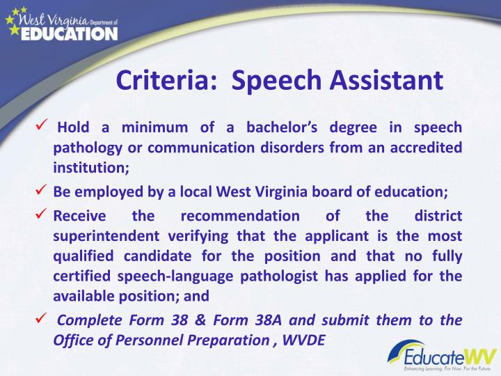 Criteria:  Speech Assistant