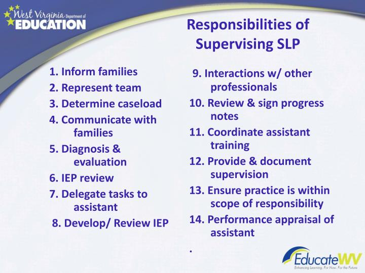 Responsibilities of Supervising SLP