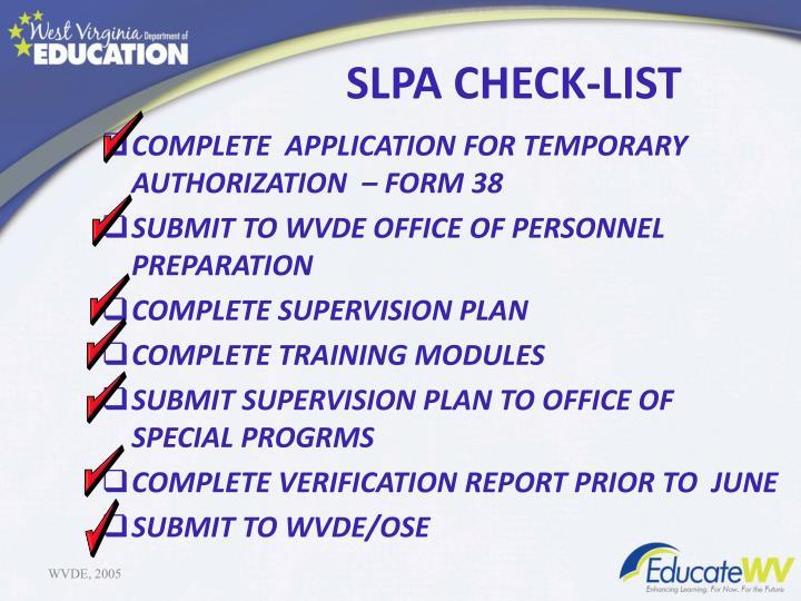 SLPA CHECK-LIST
