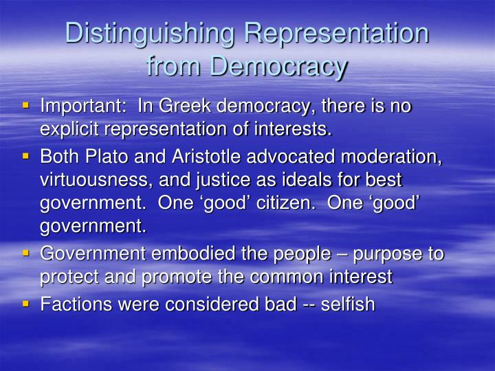 Distinguishing Representation
