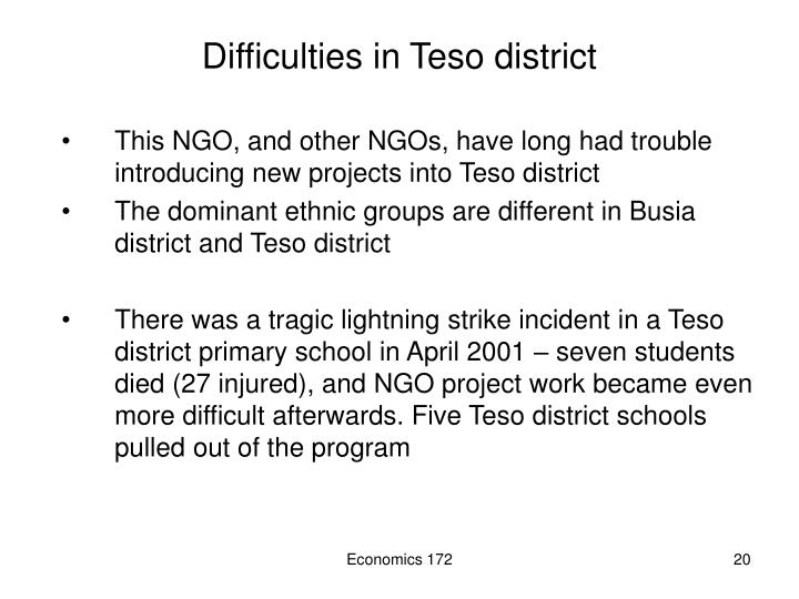Difficulties in Teso district