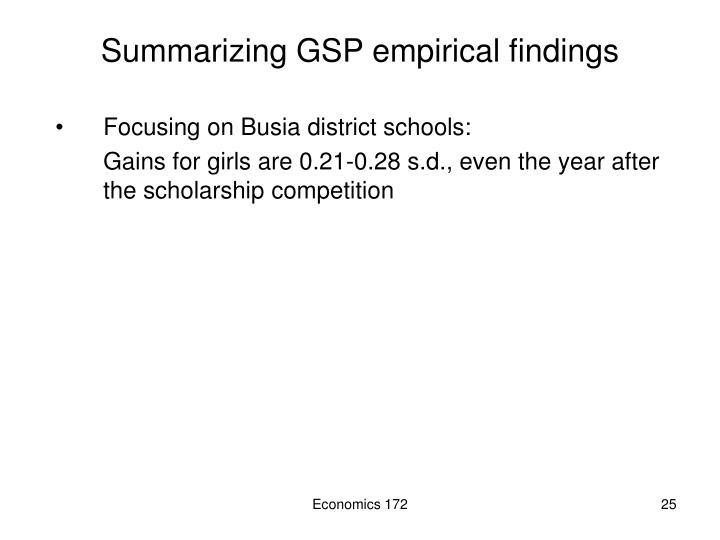 Summarizing GSP empirical findings