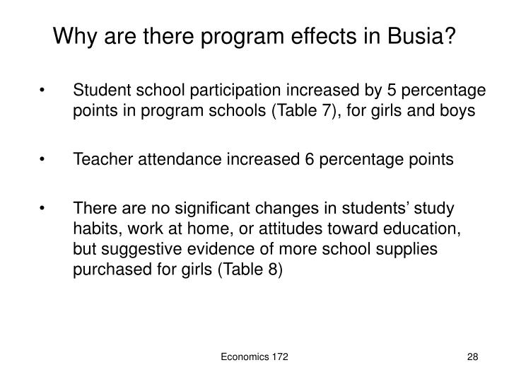 Why are there program effects in Busia?
