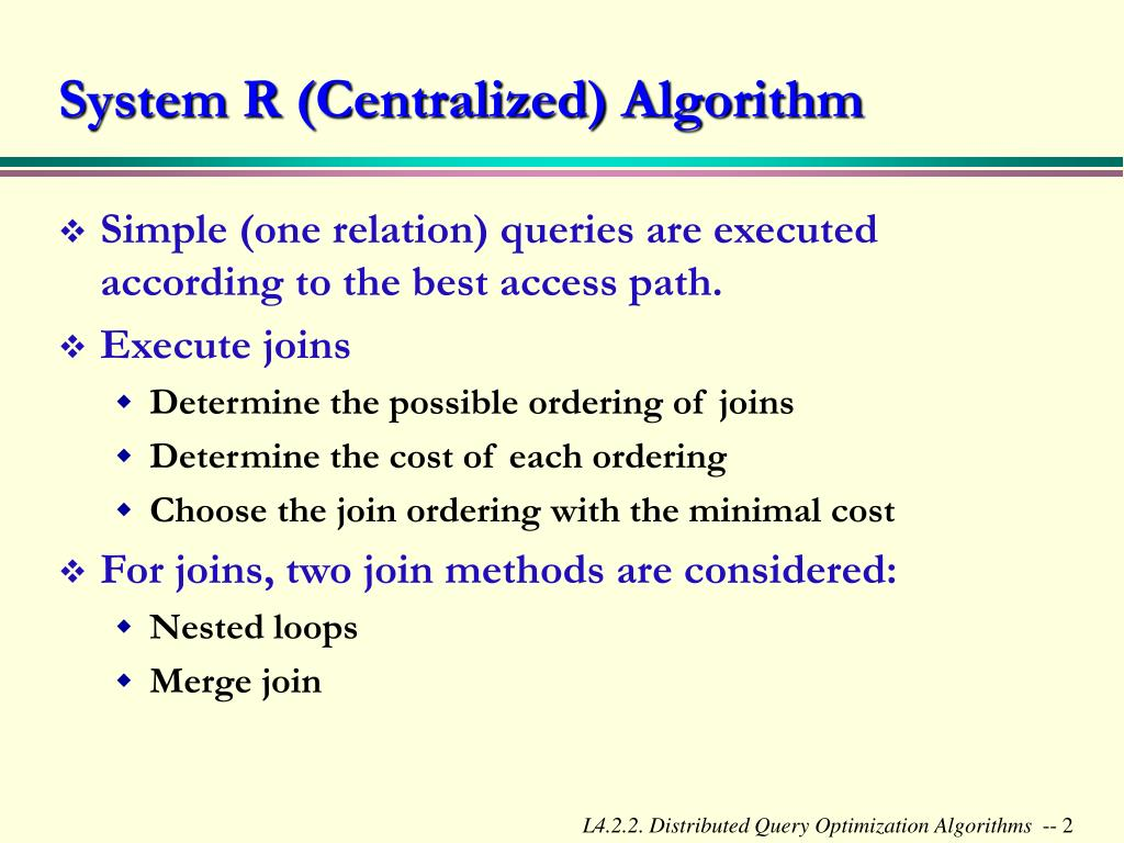 PPT - Distributed Query Optimization Algorithms PowerPoint